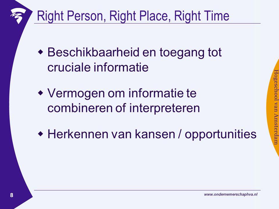 www.ondernemerschaphva.nl 8 Right Person, Right Place, Right Time  Beschikbaarheid en toegang tot cruciale informatie  Vermogen om informatie te combineren of interpreteren  Herkennen van kansen / opportunities