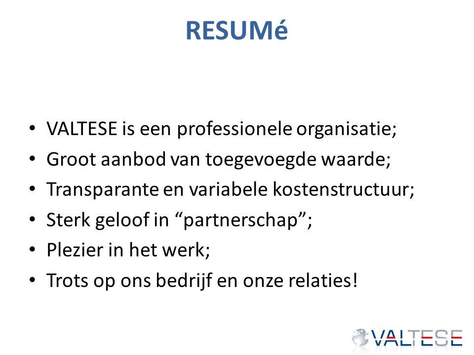 """RESUMé VALTESE is een professionele organisatie; Groot aanbod van toegevoegde waarde; Transparante en variabele kostenstructuur; Sterk geloof in """"part"""