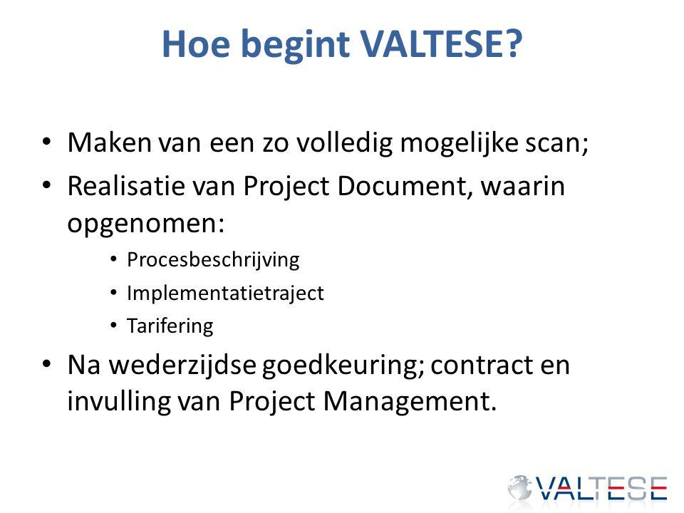 Hoe begint VALTESE? Maken van een zo volledig mogelijke scan; Realisatie van Project Document, waarin opgenomen: Procesbeschrijving Implementatietraje