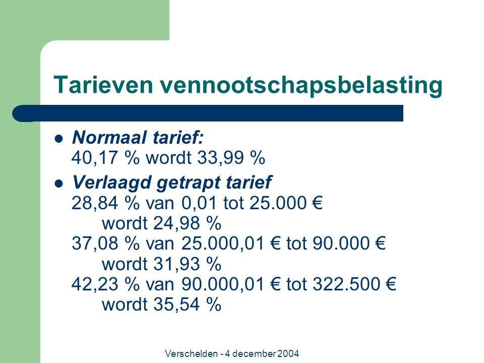 Verschelden - 4 december 2004 Tarieven vennootschapsbelasting Normaal tarief: 40,17 % wordt 33,99 % Verlaagd getrapt tarief 28,84 % van 0,01 tot 25.00