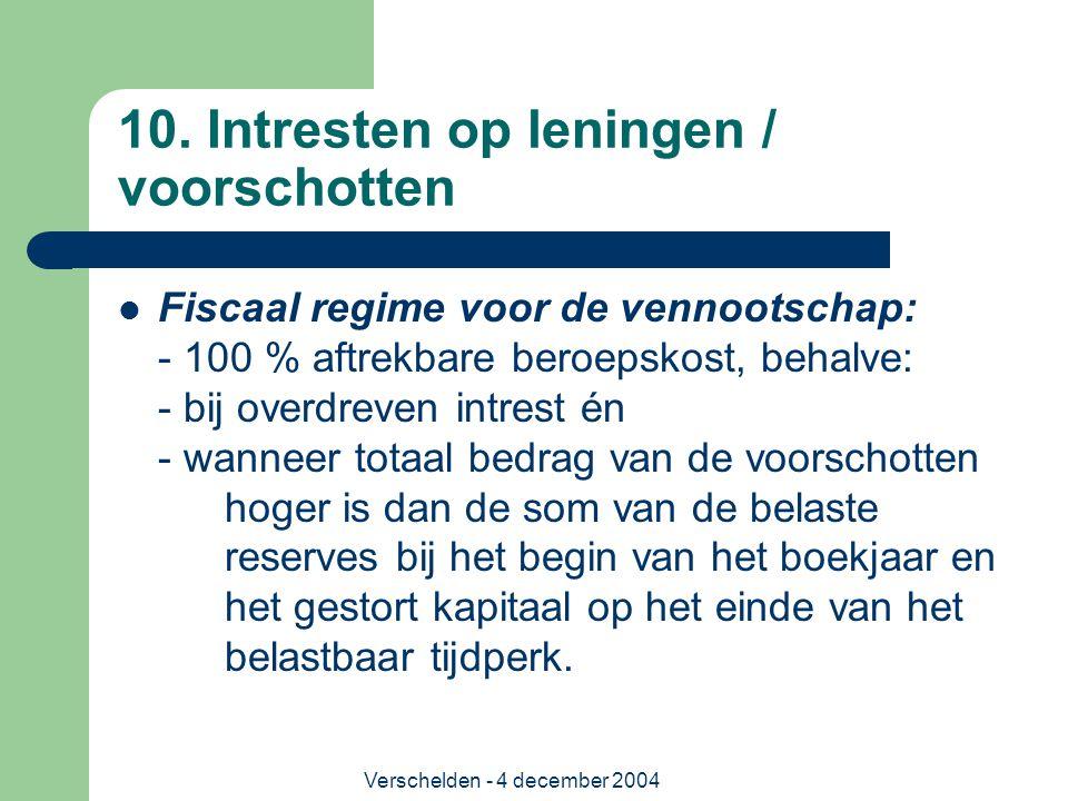 Verschelden - 4 december 2004 10. Intresten op leningen / voorschotten Fiscaal regime voor de vennootschap: - 100 % aftrekbare beroepskost, behalve: -