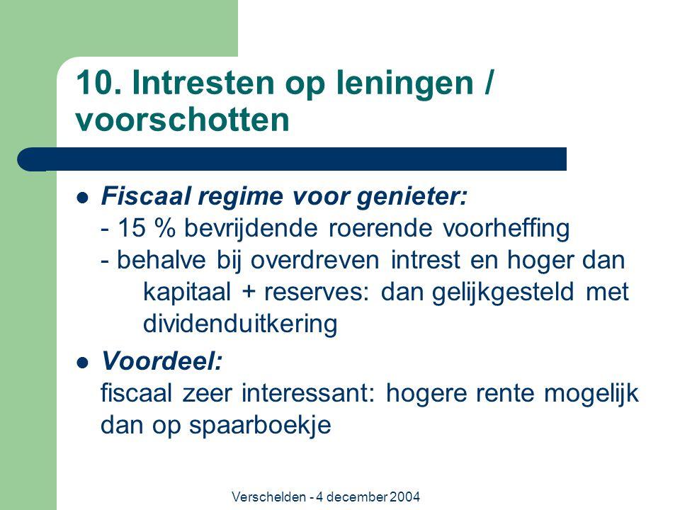 Verschelden - 4 december 2004 10. Intresten op leningen / voorschotten Fiscaal regime voor genieter: - 15 % bevrijdende roerende voorheffing - behalve