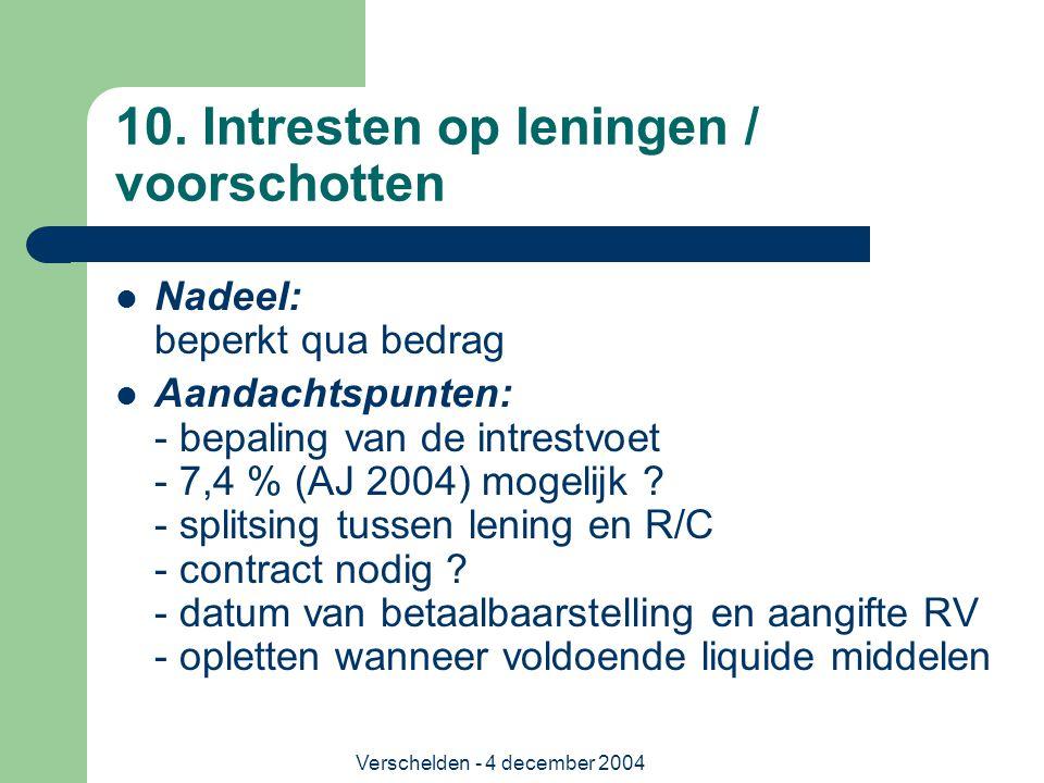 Verschelden - 4 december 2004 10. Intresten op leningen / voorschotten Nadeel: beperkt qua bedrag Aandachtspunten: - bepaling van de intrestvoet - 7,4