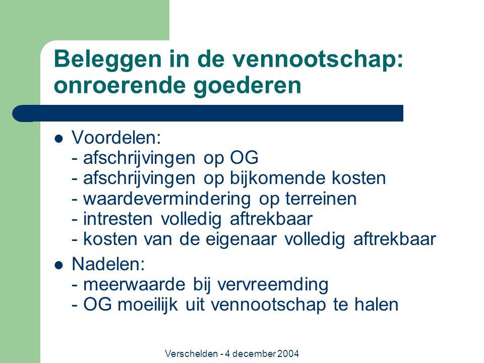 Verschelden - 4 december 2004 Beleggen in de vennootschap: onroerende goederen Voordelen: - afschrijvingen op OG - afschrijvingen op bijkomende kosten