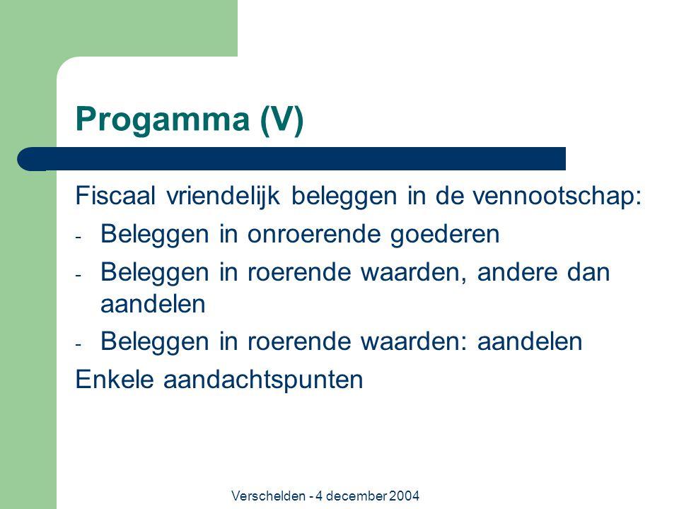 Verschelden - 4 december 2004 Progamma (V) Fiscaal vriendelijk beleggen in de vennootschap: - Beleggen in onroerende goederen - Beleggen in roerende w