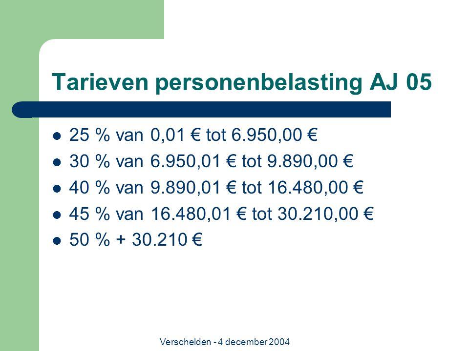 Verschelden - 4 december 2004 Tarieven personenbelasting AJ 05 25 % van 0,01 € tot 6.950,00 € 30 % van 6.950,01 € tot 9.890,00 € 40 % van 9.890,01 € t