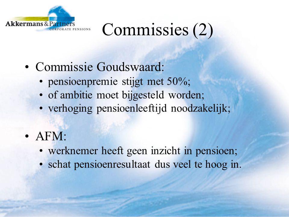Commissies (2) Commissie Goudswaard: pensioenpremie stijgt met 50%; of ambitie moet bijgesteld worden; verhoging pensioenleeftijd noodzakelijk; AFM: werknemer heeft geen inzicht in pensioen; schat pensioenresultaat dus veel te hoog in.
