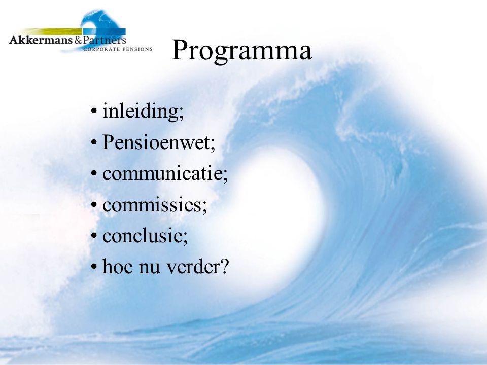 Programma inleiding; Pensioenwet; communicatie; commissies; conclusie; hoe nu verder?