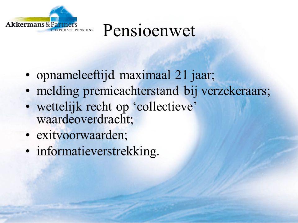 Pensioenwet opnameleeftijd maximaal 21 jaar; melding premieachterstand bij verzekeraars; wettelijk recht op 'collectieve' waardeoverdracht; exitvoorwaarden; informatieverstrekking.