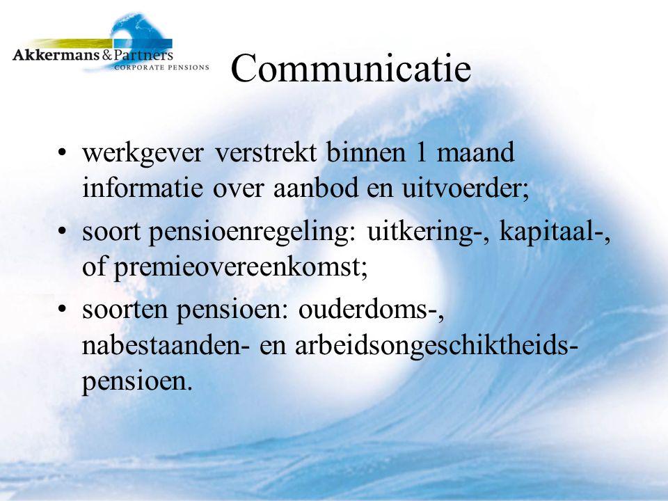 Communicatie werkgever verstrekt binnen 1 maand informatie over aanbod en uitvoerder; soort pensioenregeling: uitkering-, kapitaal-, of premieovereenkomst; soorten pensioen: ouderdoms-, nabestaanden- en arbeidsongeschiktheids- pensioen.