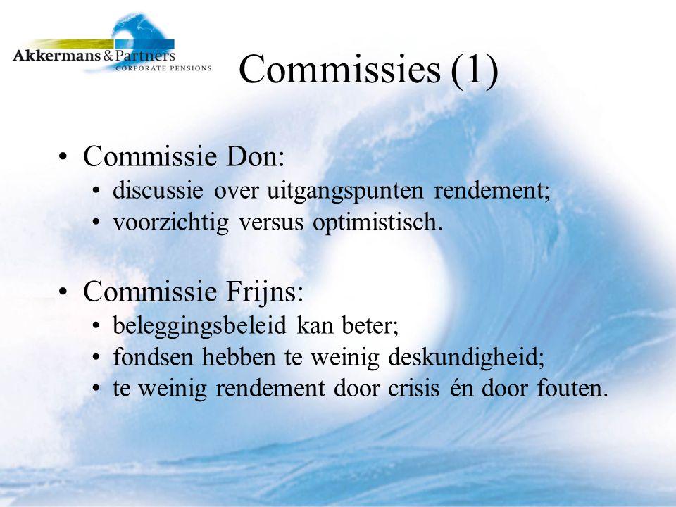 Commissies (1) Commissie Don: discussie over uitgangspunten rendement; voorzichtig versus optimistisch.