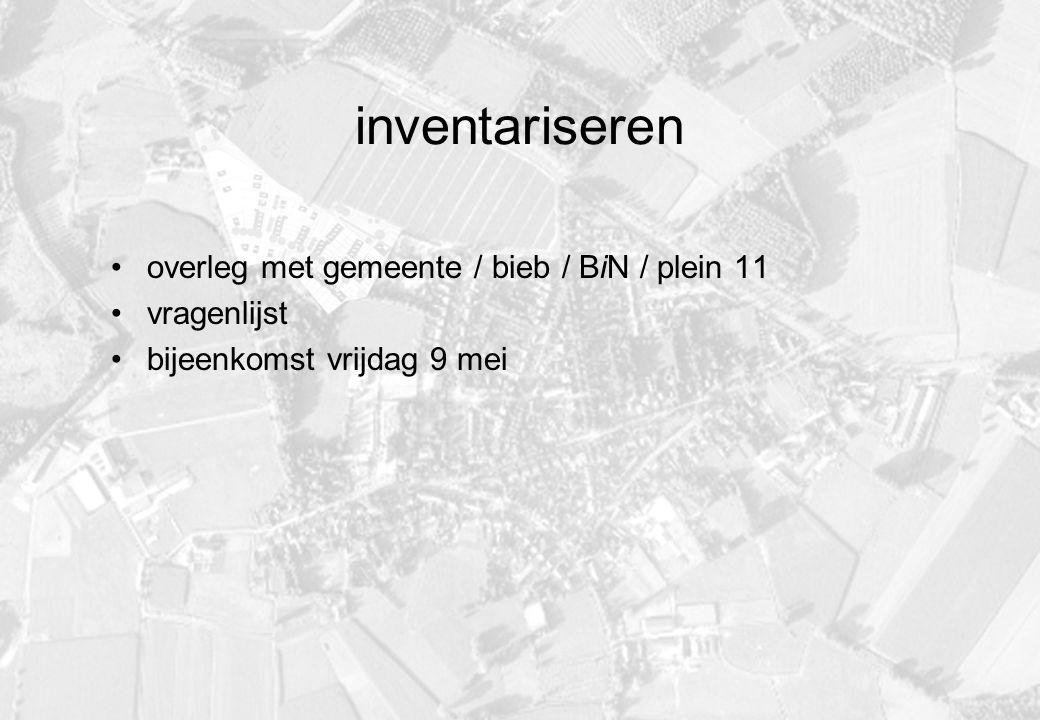 inventariseren overleg met gemeente / bieb / BiN / plein 11 vragenlijst bijeenkomst vrijdag 9 mei
