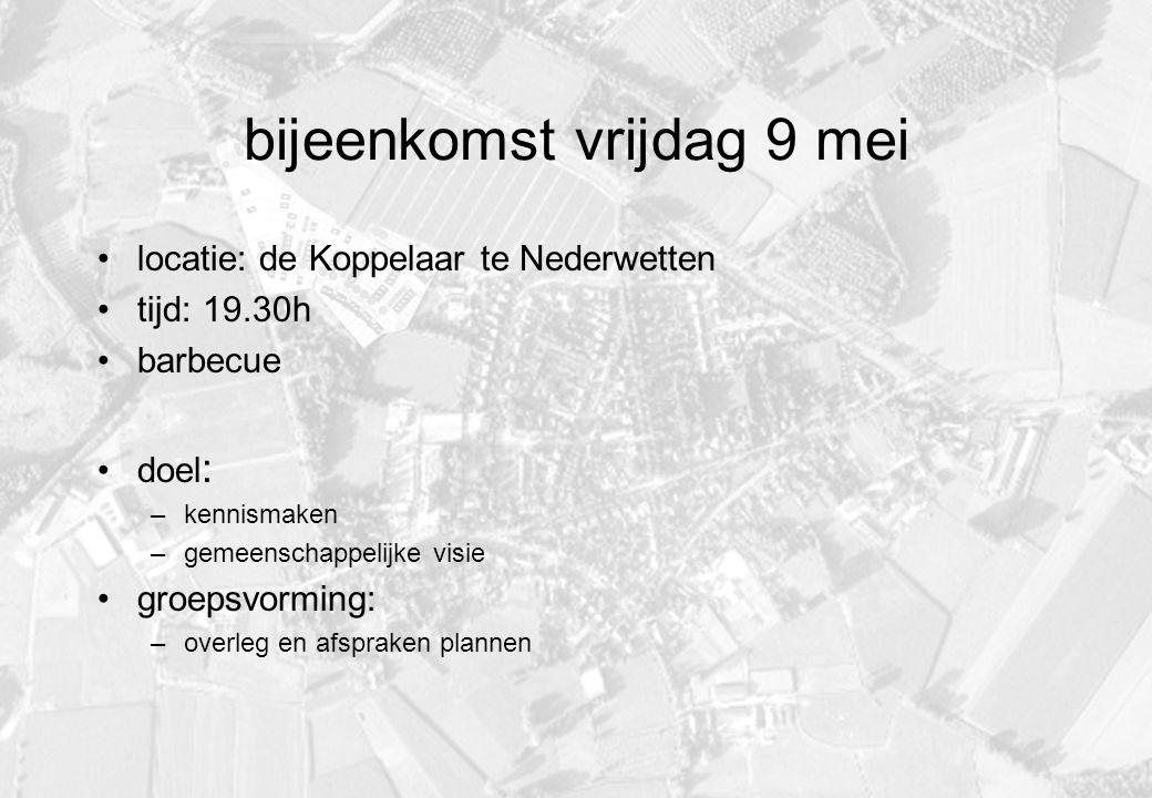 bijeenkomst vrijdag 9 mei locatie: de Koppelaar te Nederwetten tijd: 19.30h barbecue doel : –kennismaken –gemeenschappelijke visie groepsvorming: –overleg en afspraken plannen