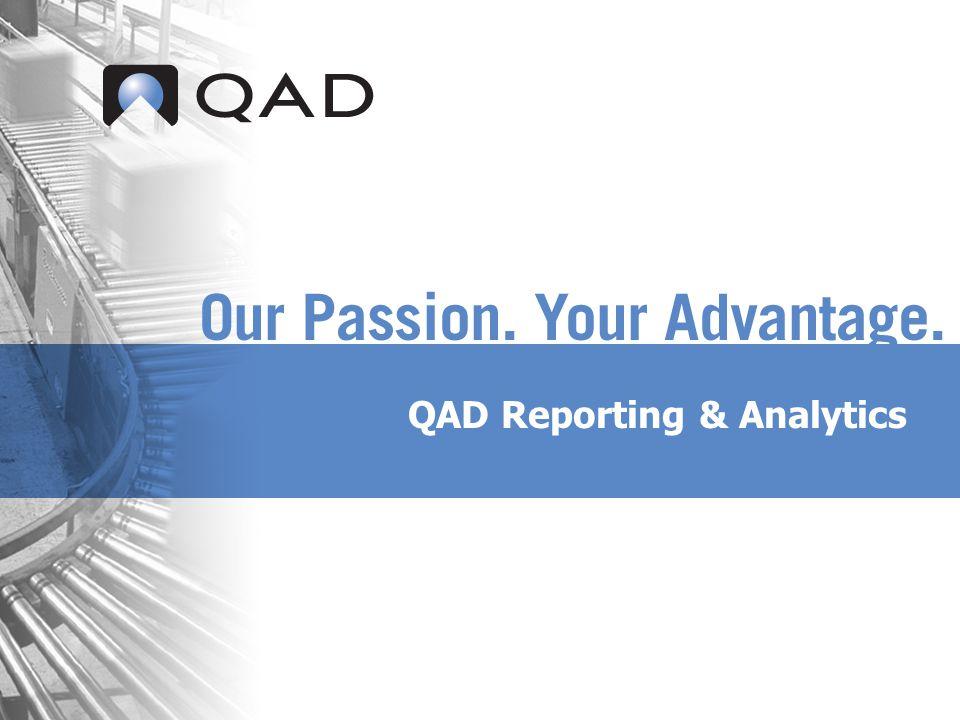 QAD Proprietary QAD Analytics - Overview Integratie met QAD.net UI Bladerfunctie