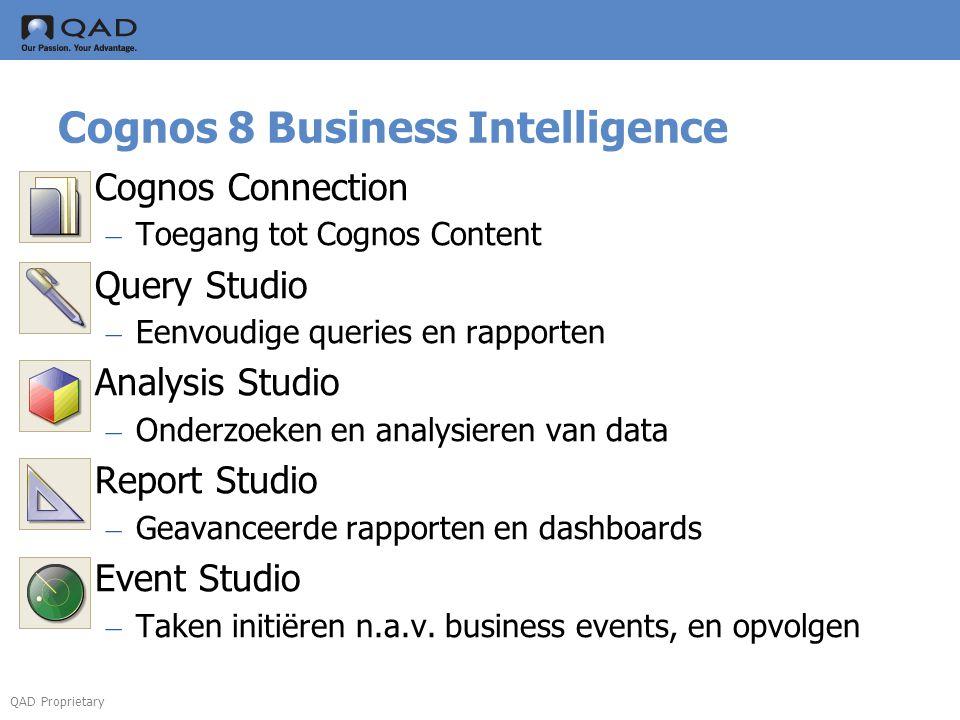 QAD Proprietary Cognos 8 Business Intelligence  Cognos Connection – Toegang tot Cognos Content  Query Studio – Eenvoudige queries en rapporten  Ana