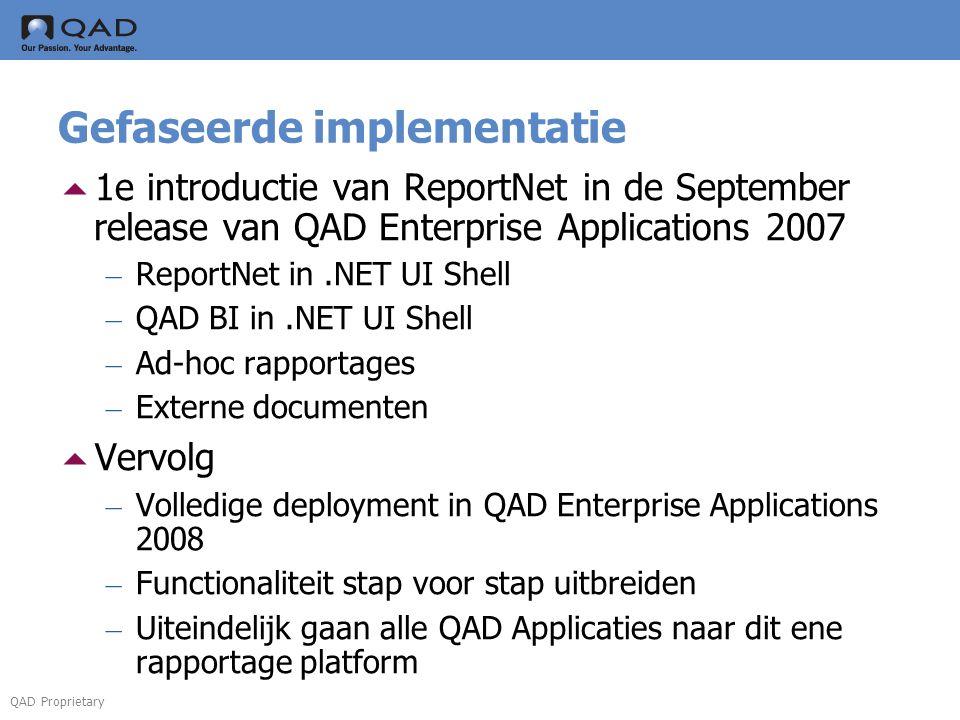 QAD Proprietary Gefaseerde implementatie  1e introductie van ReportNet in de September release van QAD Enterprise Applications 2007 – ReportNet in.NE
