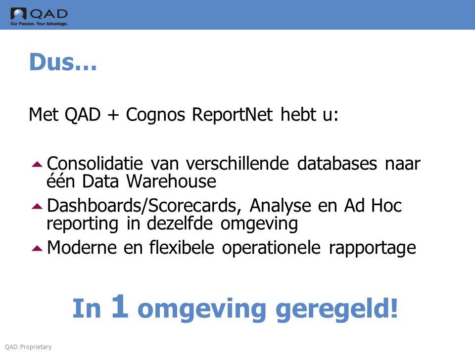 QAD Proprietary Dus… Met QAD + Cognos ReportNet hebt u:  Consolidatie van verschillende databases naar één Data Warehouse  Dashboards/Scorecards, An