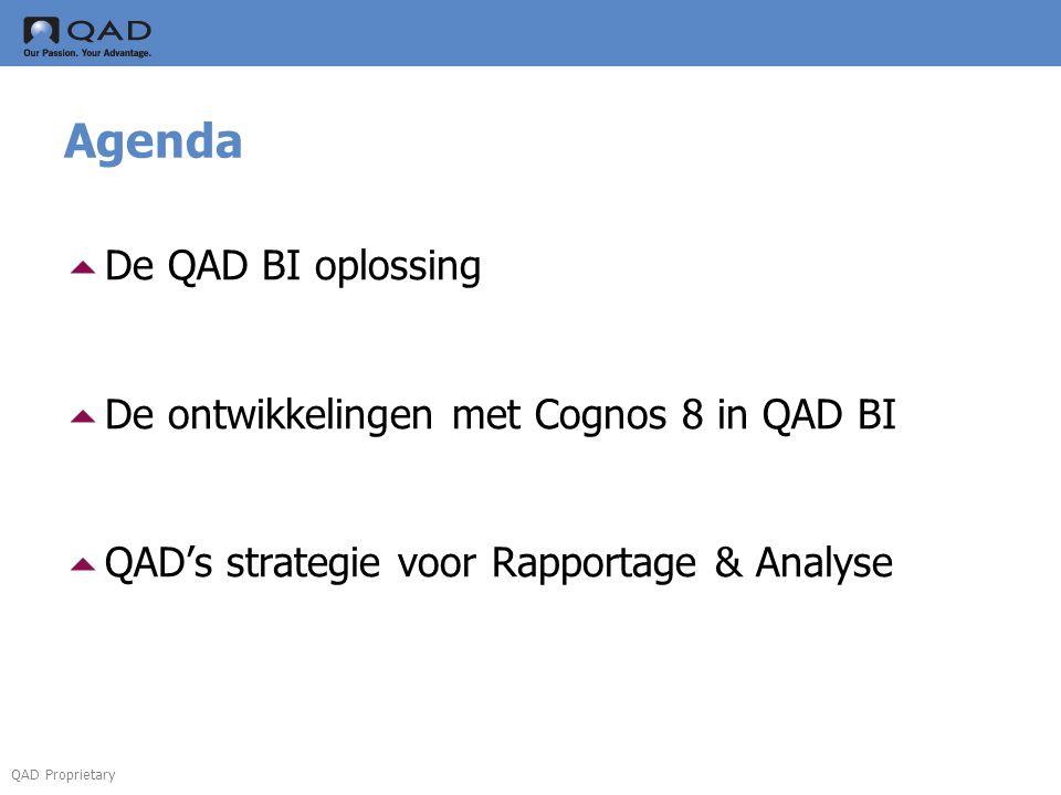 QAD Proprietary Agenda  De QAD BI oplossing  De ontwikkelingen met Cognos 8 in QAD BI  QAD's strategie voor Rapportage & Analyse