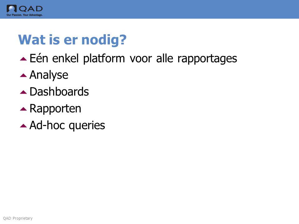 QAD Proprietary Wat is er nodig?  Eén enkel platform voor alle rapportages  Analyse  Dashboards  Rapporten  Ad-hoc queries