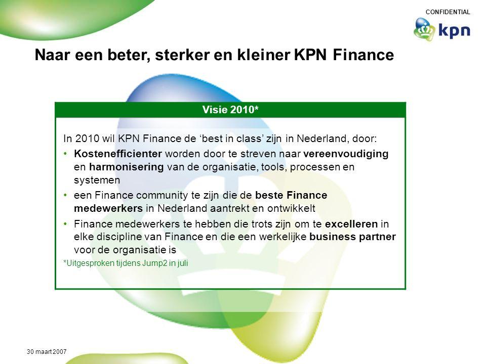 CONFIDENTIAL 30 maart 2007 Naar een beter, sterker en kleiner KPN Finance Visie 2010* In 2010 wil KPN Finance de 'best in class' zijn in Nederland, do