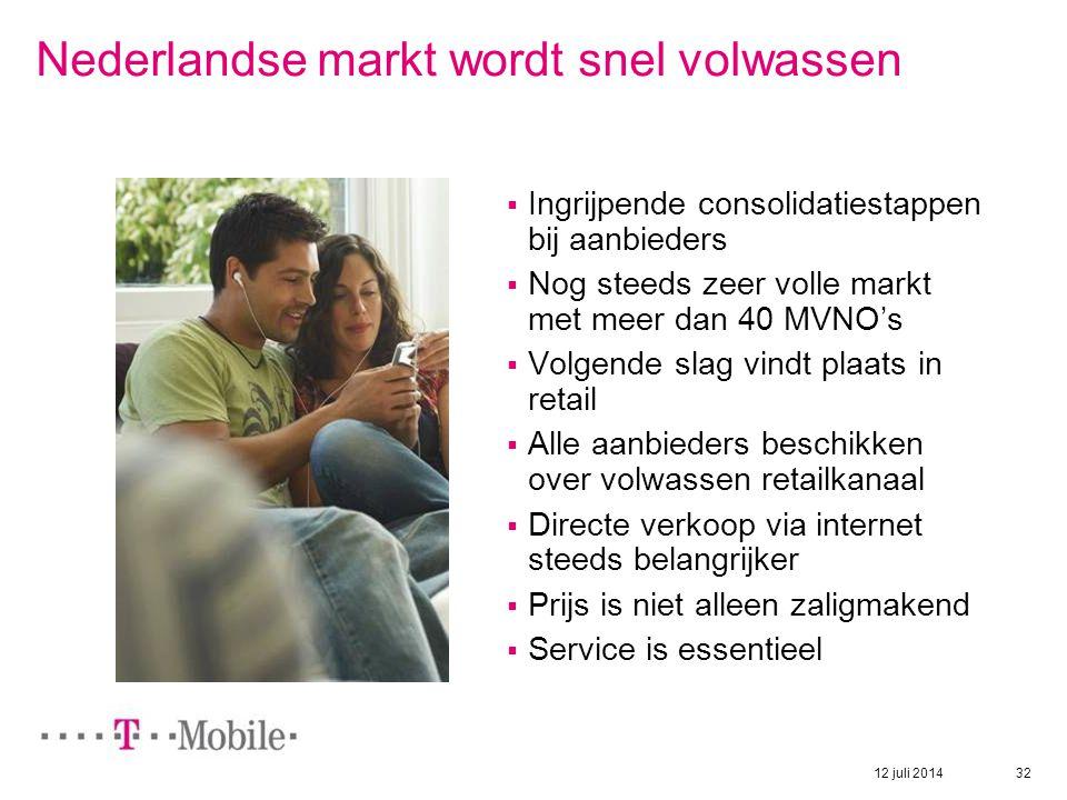 12 juli 2014 32 Nederlandse markt wordt snel volwassen  Ingrijpende consolidatiestappen bij aanbieders  Nog steeds zeer volle markt met meer dan 40