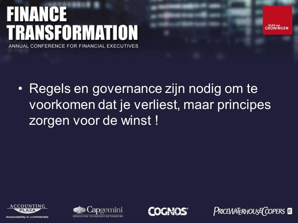 Regels en governance zijn nodig om te voorkomen dat je verliest, maar principes zorgen voor de winst !