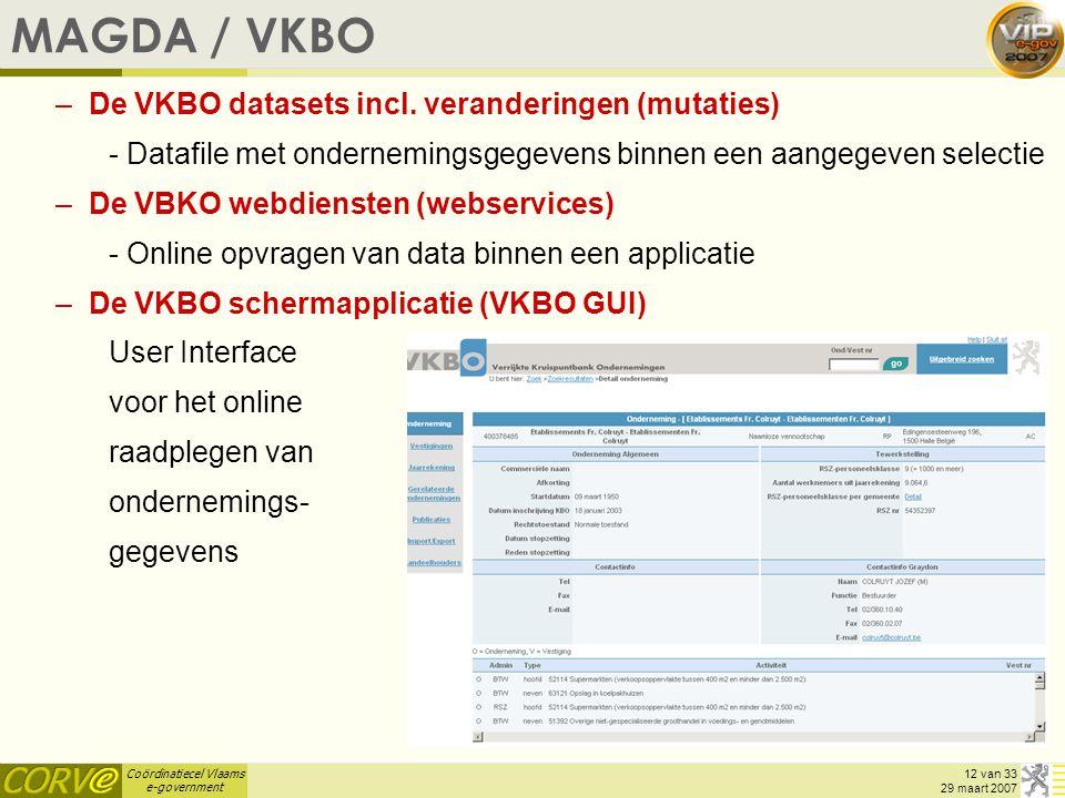 Coördinatiecel Vlaams e-government 12 van 33 29 maart 2007 MAGDA / VKBO –De VKBO datasets incl. veranderingen (mutaties) - Datafile met ondernemingsge