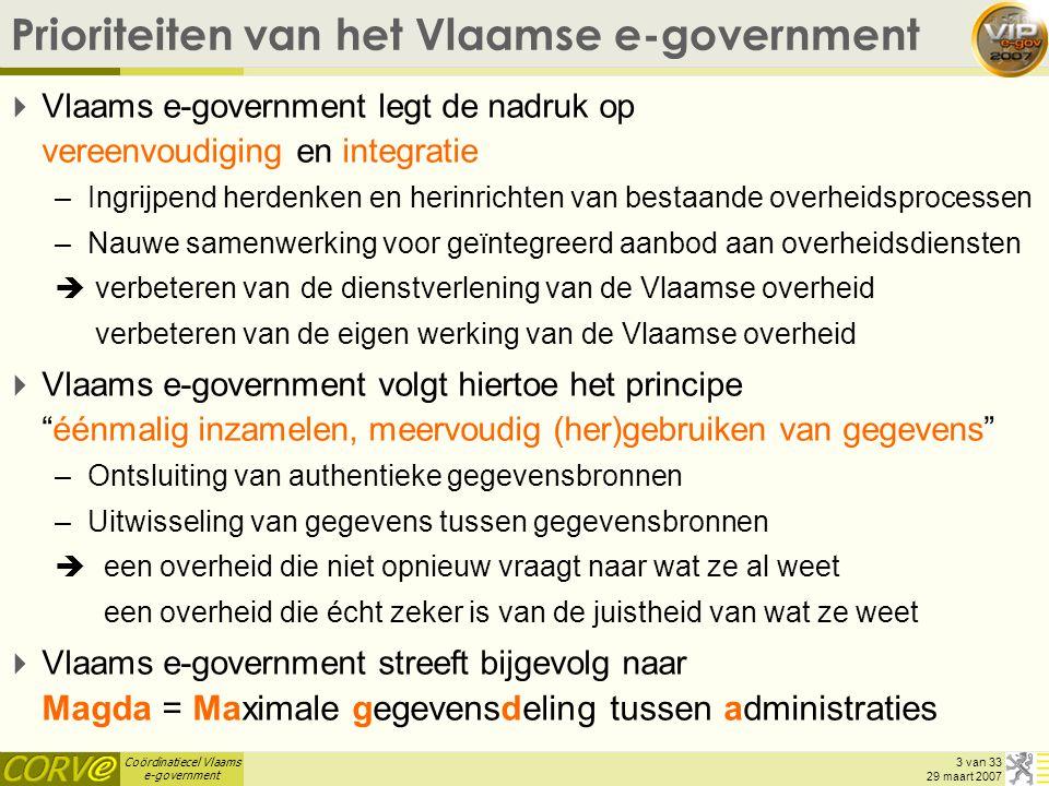 Coördinatiecel Vlaams e-government 14 van 33 29 maart 2007 MAGDA / VKBO  Interactieve webtoepassing VKBO-GO (operationeel) –opvragen officiële KBO basis-signaletiek (naam, adres, juridische vorm, status,...) van de ondernemingen (én hun vestigingen) + tewerkstelling –gebruiker dient te beschikken over een federale ambtenarentoken