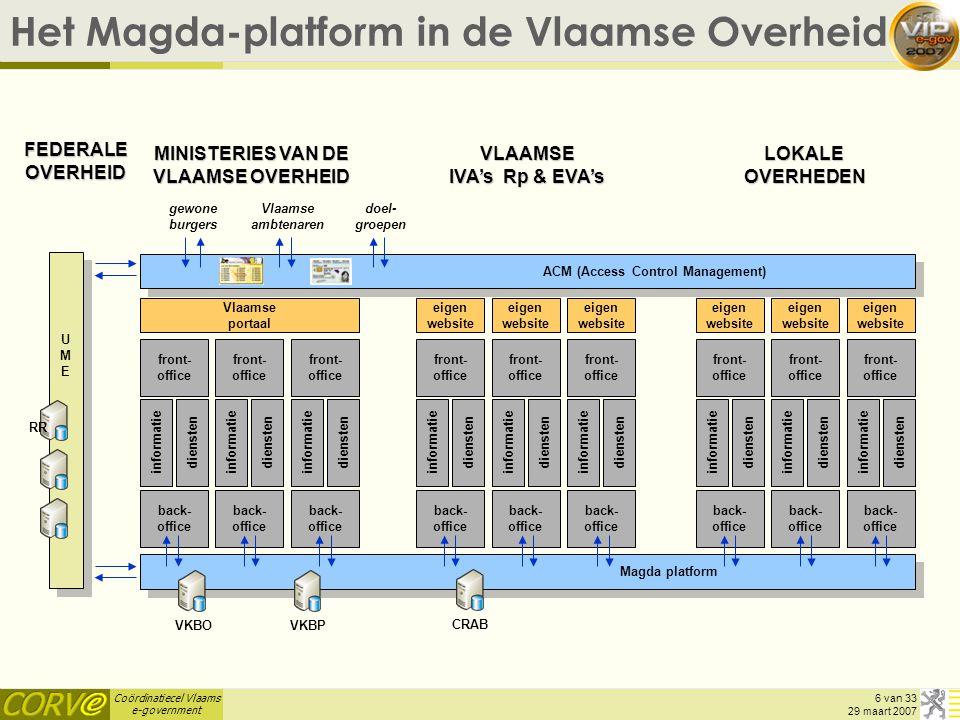 Coördinatiecel Vlaams e-government 6 van 33 29 maart 2007 Het Magda-platform in de Vlaamse Overheid UMEUME RR Magda platform informatie diensten infor