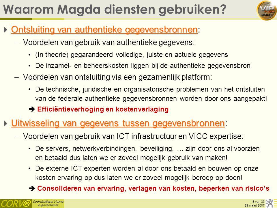 Coördinatiecel Vlaams e-government 29 van 33 29 maart 2007 VIP oproep 2007  Eindbeslissing door Minister Geert Bourgeois  Op basis van volgende criteria: –Het project komt rechtstreeks ten goede (met zichtbare resultaten) aan burgers en bedrijven –Er wordt gebruik gemaakt van het MAGDA-platform voor maximale gegevensdeling tussen administraties –Er wordt gebruik gemaakt van de generieke GIS-component (vb.