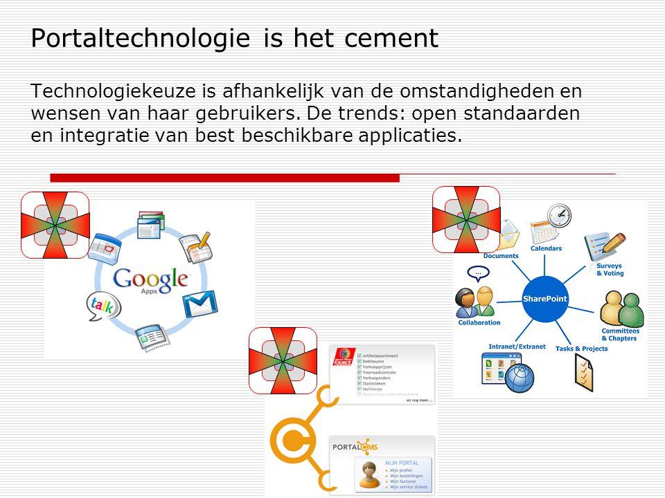 Portaltechnologie is het cement Technologiekeuze is afhankelijk van de omstandigheden en wensen van haar gebruikers. De trends: open standaarden en in