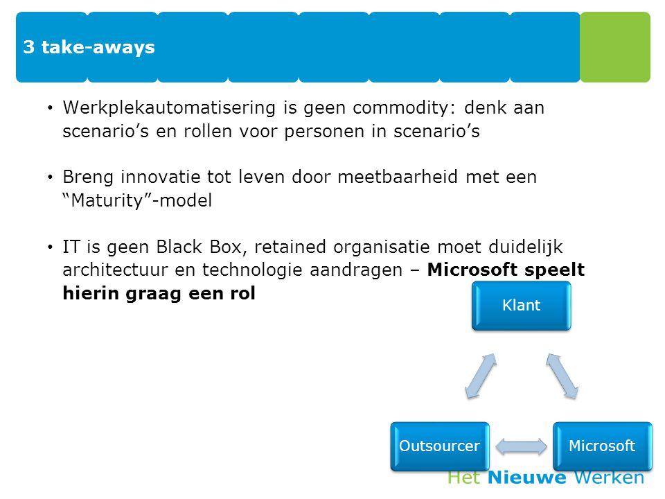 3 take-aways Werkplekautomatisering is geen commodity: denk aan scenario's en rollen voor personen in scenario's Breng innovatie tot leven door meetba