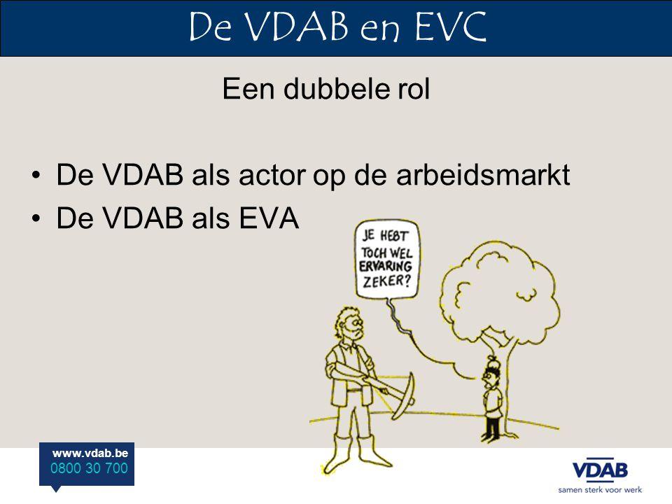 www.vdab.be 0800 30 700 De VDAB en EVC Een dubbele rol De VDAB als actor op de arbeidsmarkt De VDAB als EVA