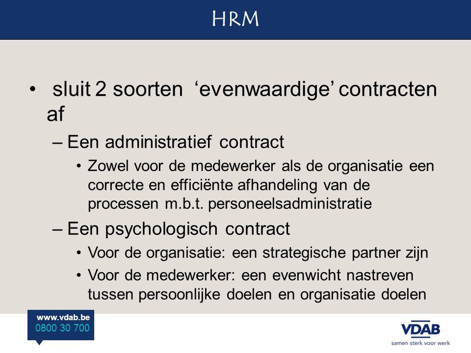 www.vdab.be 0800 30 700 HRM www.vdab.be 0800 30 700 sluit 2 soorten 'evenwaardige' contracten af –Een administratief contract Zowel voor de medewerker als de organisatie een correcte en efficiënte afhandeling van de processen m.b.t.