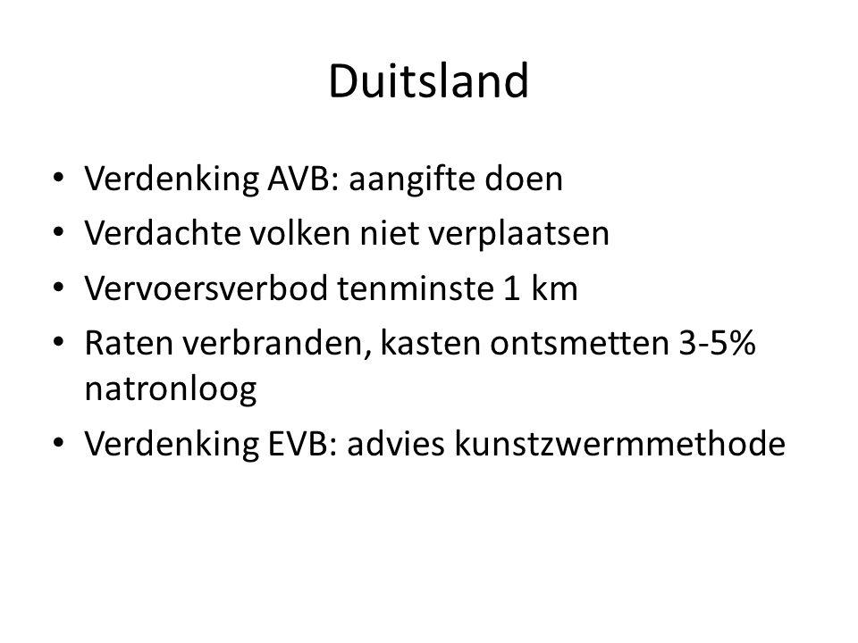 Duitsland Verdenking AVB: aangifte doen Verdachte volken niet verplaatsen Vervoersverbod tenminste 1 km Raten verbranden, kasten ontsmetten 3-5% natro