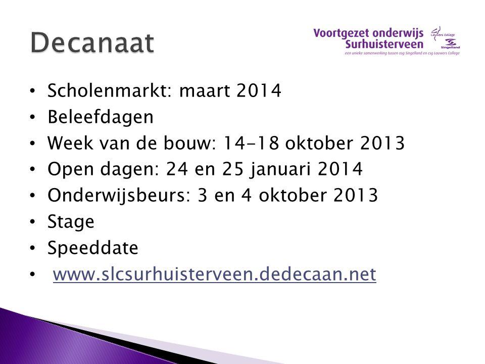 Scholenmarkt: maart 2014 Beleefdagen Week van de bouw: 14-18 oktober 2013 Open dagen: 24 en 25 januari 2014 Onderwijsbeurs: 3 en 4 oktober 2013 Stage
