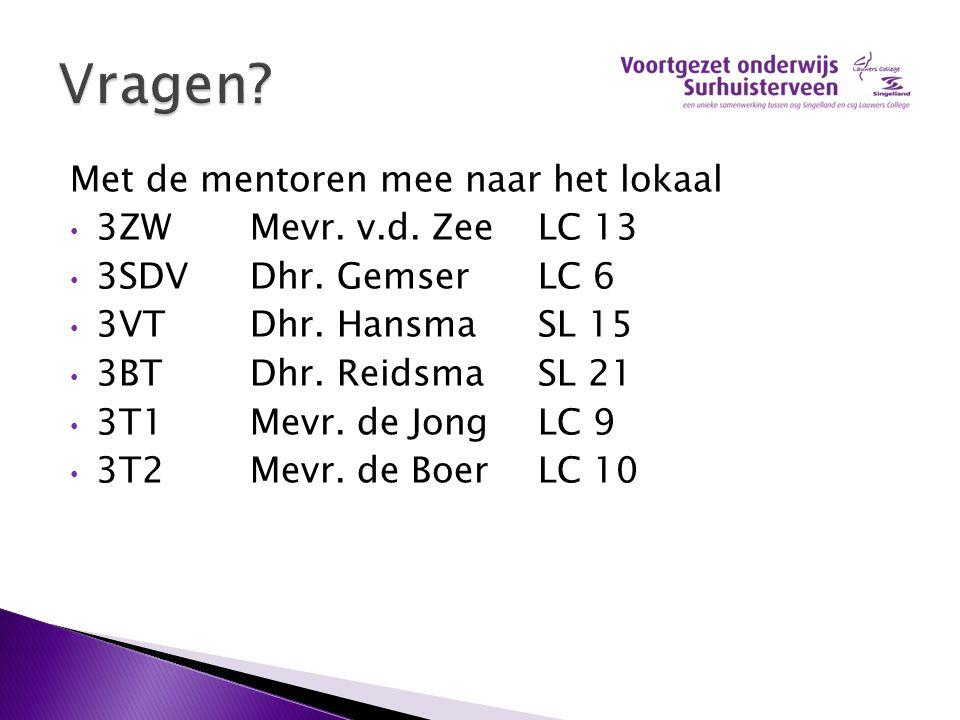 Met de mentoren mee naar het lokaal 3ZWMevr. v.d. ZeeLC 13 3SDVDhr. GemserLC 6 3VTDhr. HansmaSL 15 3BTDhr. Reidsma SL 21 3T1Mevr. de JongLC 9 3T2Mevr.