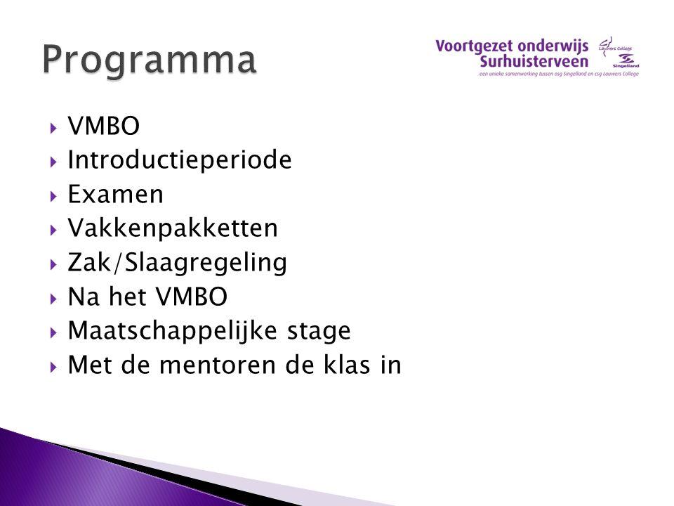 VMBO  Introductieperiode  Examen  Vakkenpakketten  Zak/Slaagregeling  Na het VMBO  Maatschappelijke stage  Met de mentoren de klas in