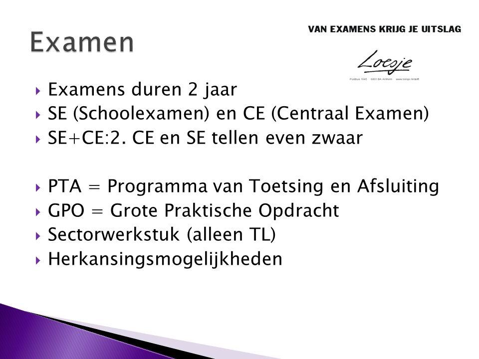  Examens duren 2 jaar  SE (Schoolexamen) en CE (Centraal Examen)  SE+CE:2. CE en SE tellen even zwaar  PTA = Programma van Toetsing en Afsluiting