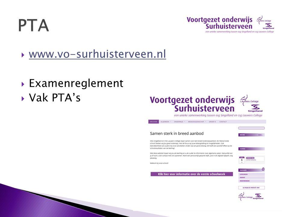  www.vo-surhuisterveen.nl www.vo-surhuisterveen.nl  Examenreglement  Vak PTA's