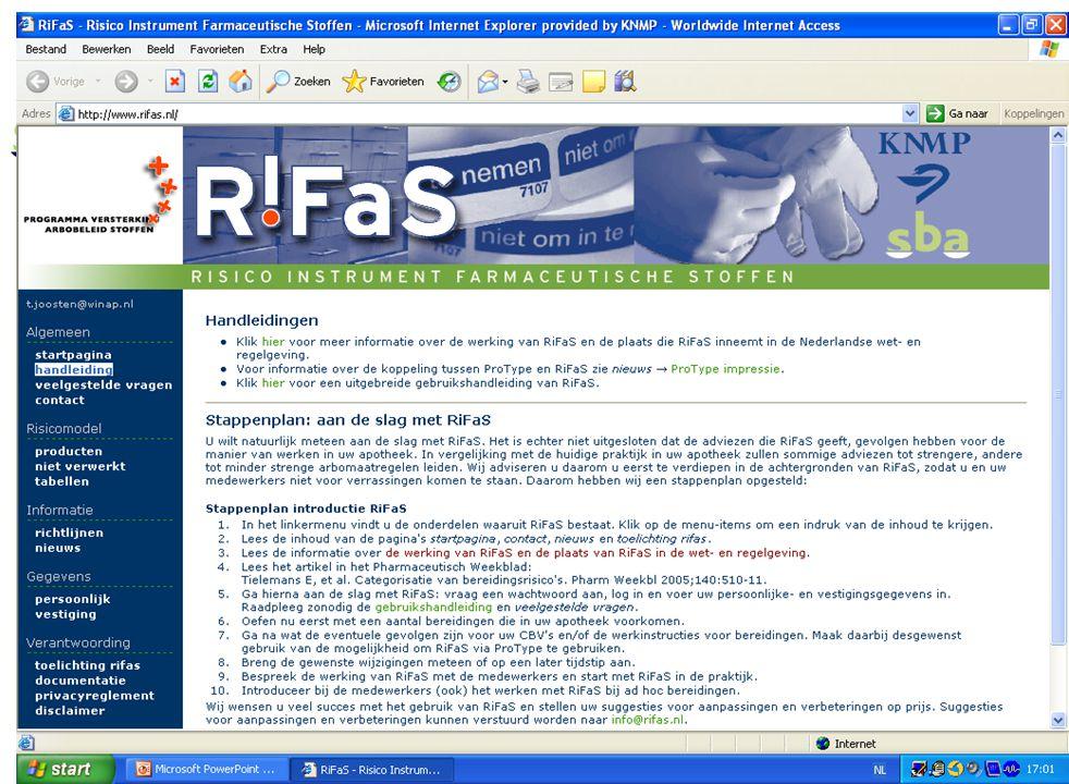 7 MAAK UW EIGEN STAPPENPLAN Voorbeeld van een stappenplan: 1.Hoe zit R!FaS in elkaar (inhoud, achtergronden) 2.Hoe werkt R!FaS (test met enkele bereidingen) 3.Wat zijn de gevolgen voor de apotheek: Wijzigingen in werkinstructies, CBV's etc R!FaS in ProType, weegsystemen 4.Maak een plan van aanpak 5.Bespreek R!FaS en het plan van aanpak in het team 6.Start met R!FaS: (bijvoorbeeld) eerst de voorraadbereidingen, daarna de ad hoc bereidingen