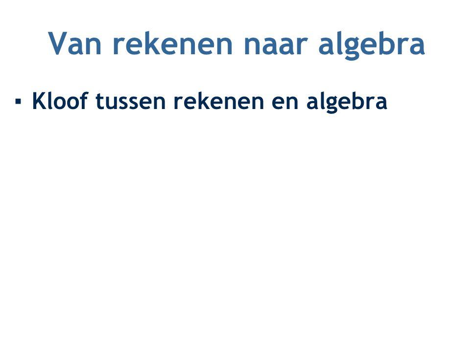 Van rekenen naar algebra ▪Kloof tussen rekenen en algebra