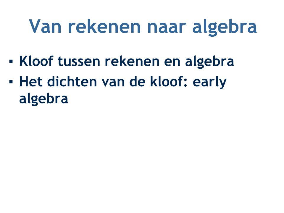Van rekenen naar algebra ▪Kloof tussen rekenen en algebra ▪Het dichten van de kloof: early algebra