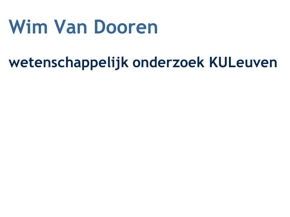 Wim Van Dooren wetenschappelijk onderzoek KULeuven