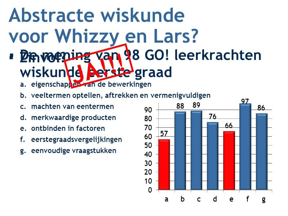 Abstracte wiskunde ▪De mening van 98 GO! leerkrachten wiskunde eerste graad voor Whizzy en Lars? ▪Zinvol? a.eigenschappen van de bewerkingen b.veelter