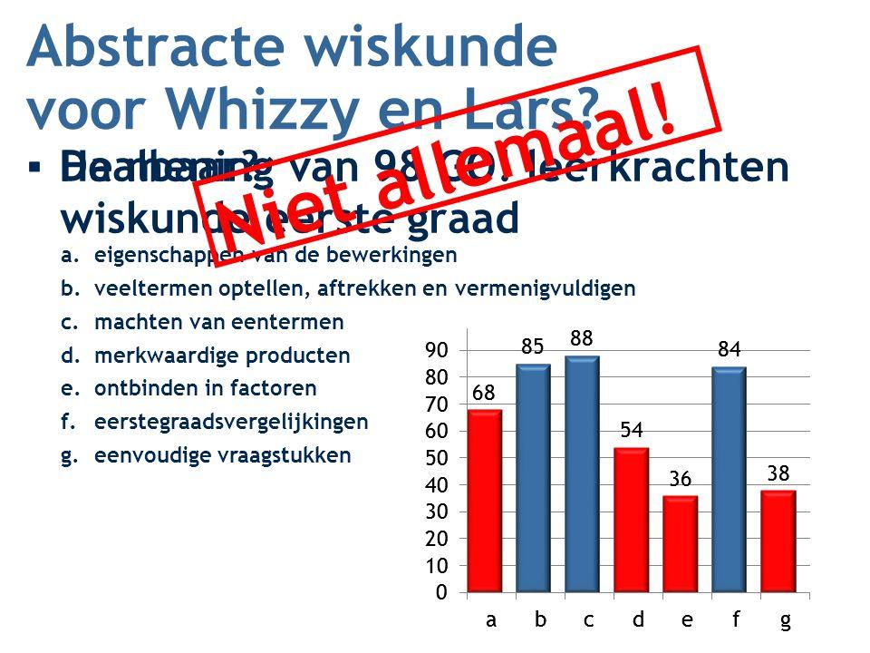 Abstracte wiskunde ▪De mening van 98 GO! leerkrachten wiskunde eerste graad voor Whizzy en Lars? ▪Haalbaar? a.eigenschappen van de bewerkingen b.veelt