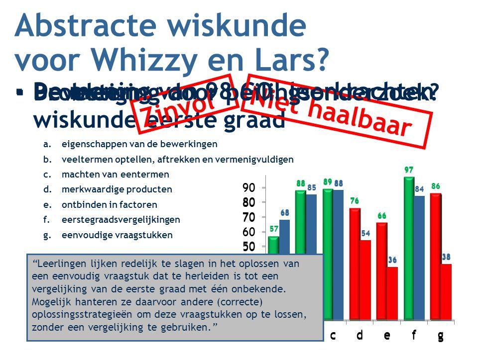 Abstracte wiskunde ▪De mening van 98 GO! leerkrachten wiskunde eerste graad voor Whizzy en Lars? a.eigenschappen van de bewerkingen b.veeltermen optel