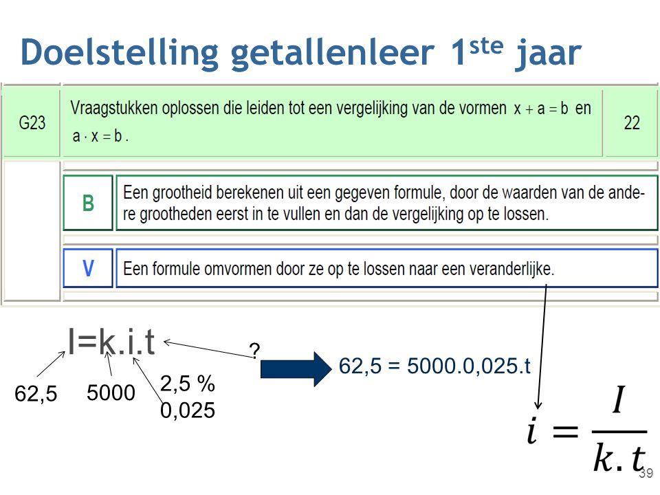 Doelstelling getallenleer 1 ste jaar 39 I=k.i.t 62,5 5000 2,5 % 0,025 ? 62,5 = 5000.0,025.t