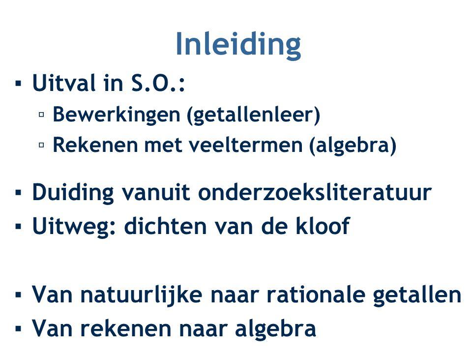 Inleiding ▪Uitval in S.O.: ▫Bewerkingen (getallenleer) ▫Rekenen met veeltermen (algebra) ▪Duiding vanuit onderzoeksliteratuur ▪Uitweg: dichten van de