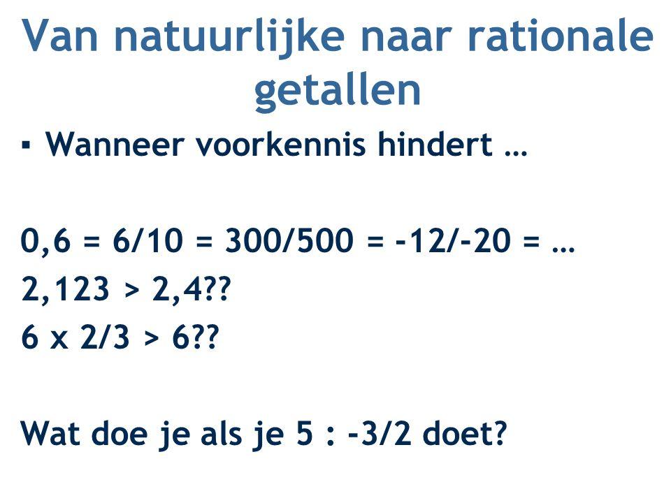Van natuurlijke naar rationale getallen ▪Wanneer voorkennis hindert … 0,6 = 6/10 = 300/500 = -12/-20 = … 2,123 > 2,4?? 6 x 2/3 > 6?? Wat doe je als je